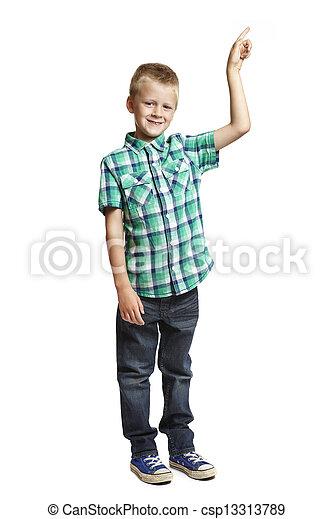 School boy pointing on white background - csp13313789