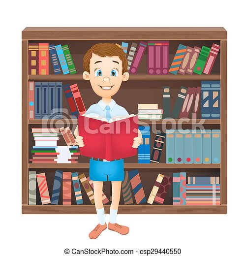 school boy reading a book and library. vector illustration - csp29440550