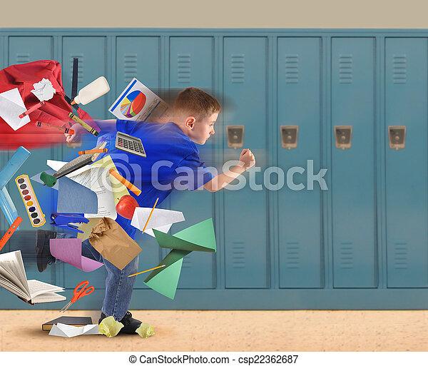 School Boy Running Late with Supplies in Hallway - csp22362687