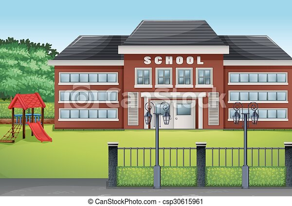 school building and green lawn illustration rh canstockphoto com free clipart school building free clipart pictures school buildings