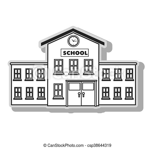 School Building Architecture In Black And White Colors Isolated Rh Canstockphoto Com Circus Clip Art