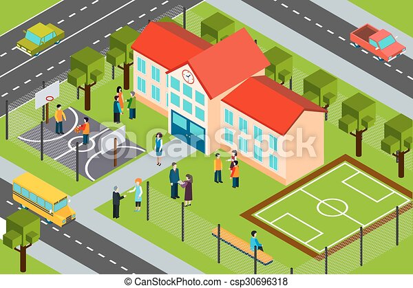School Building Area Isometric Composition Poster High: builders in my area