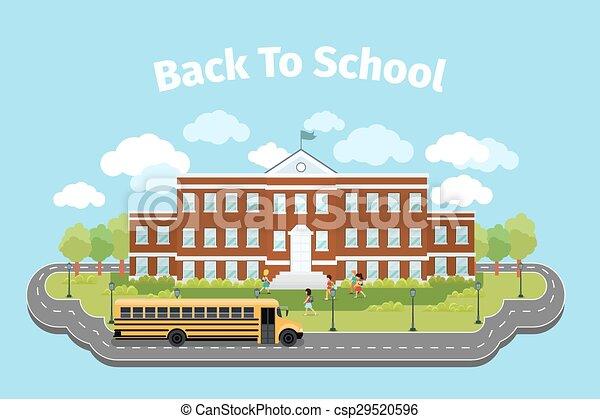 School building. Background with graduation concept. Vector illustration - csp29520596