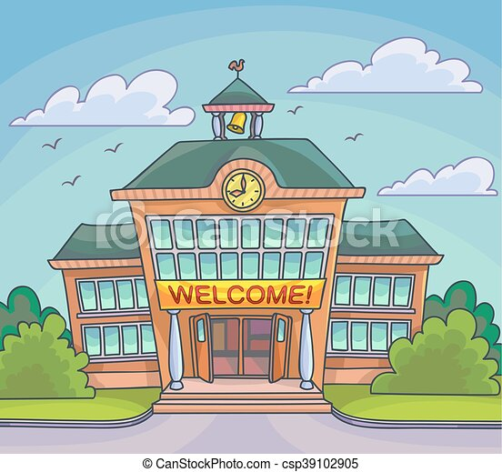 School building Bright cartoon illustration - csp39102905