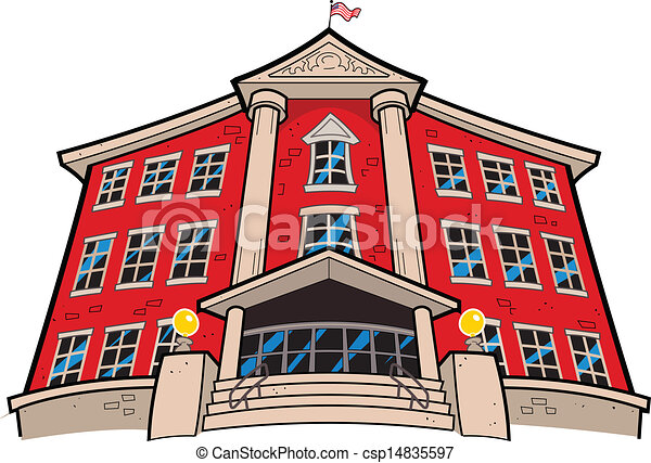 large imposing red brick school building with american flag eps rh canstockphoto com clipart school building black and white