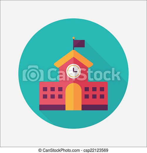 School building flat icon with long shadow,eps10 - csp22123569