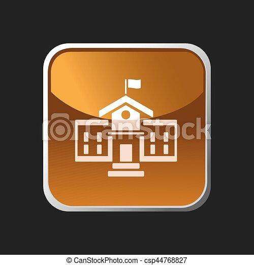 School building icon on a square button - csp44768827