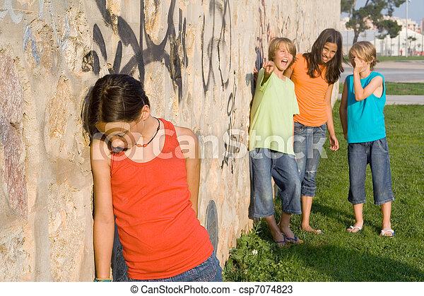 school bully or bullies bullying sad lonely child - csp7074823