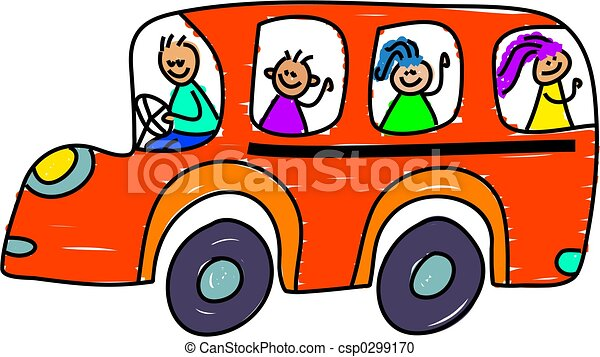 kids on the school bus toddler art series stock illustration rh canstockphoto com Apple School Bus Clip Art Pink School Bus Clip Art