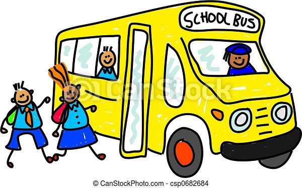 children getting onto school bus toddler art series