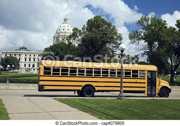 School Bus in front of State Capitol - csp4079800