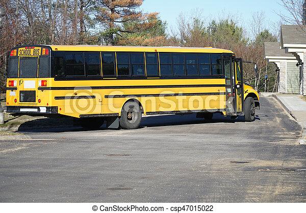 school bus in residential area - csp47015022