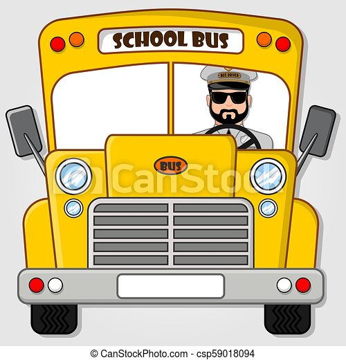 School Bus isolated on a white background. Flat style vector illustration - csp59018094