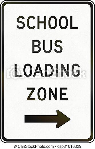School bus loading zone in canada regulatory road sign in school bus loading zone in canada stock photo voltagebd Choice Image