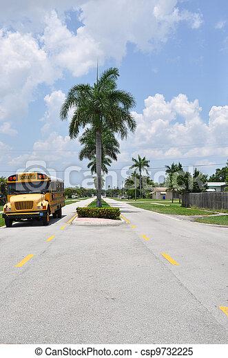 School Bus on Street - csp9732225