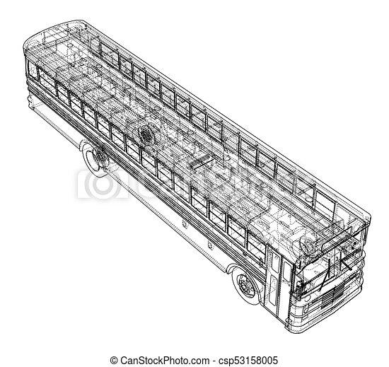 School Bus Outline Vector Vector Eps10 Format Rendering Of 3d