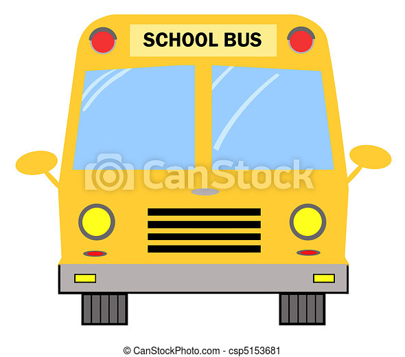 frontal view of a yellow school bus vector clip art search rh canstockphoto com Vintage School Bus Clip Art School Bus Driver
