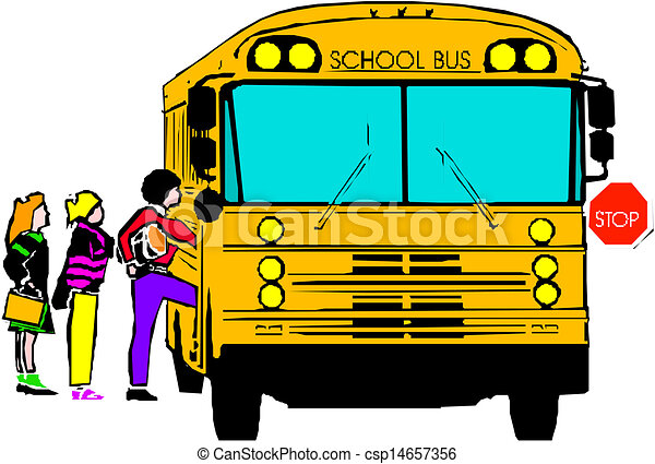 school bus with of kids rh canstockphoto com Short Bus Clip Art Lady Bus Driver Clip Art
