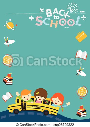 School bus with student frame, icon. Education, learning and study.