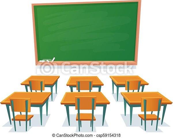 School chalkboard and desks. Empty blackboard, classroom wooden desk and  chair isolated cartoon vector illustration