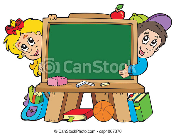 School chalkboard with two kids - csp4067370