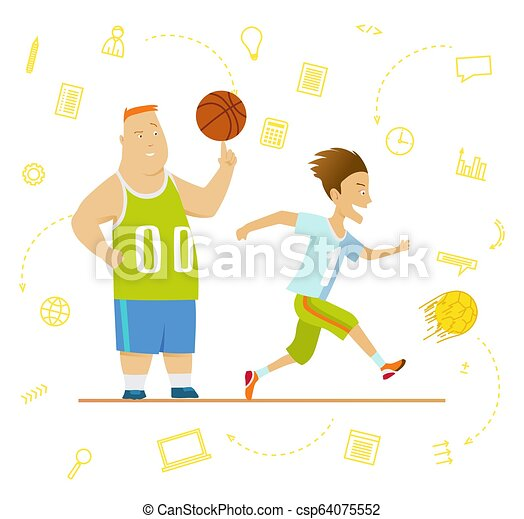 School children. Sport for kids including football, basketball. - csp64075552