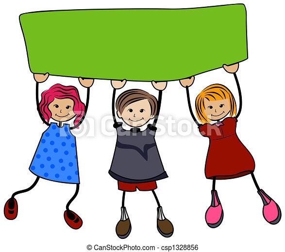 school children with blank board rh canstockphoto com school kid clipart black and white school kid clipart