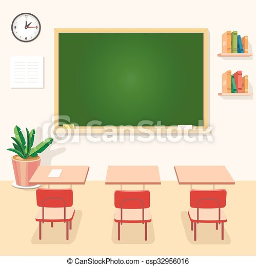 School classroom with chalkboard and desks. Class for education, board, table or study, blackboard lesson. Vector - csp32956016