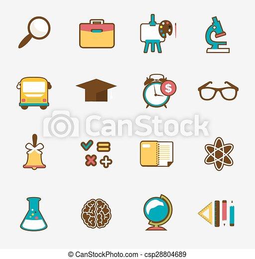 School colorful icon set - csp28804689