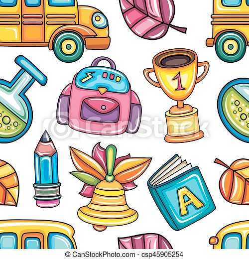 School colorful  seamless vector pattern - csp45905254
