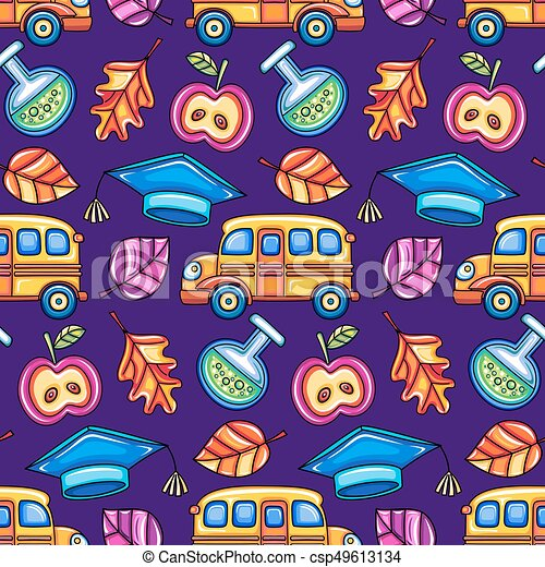 School colorful  seamless vector pattern. - csp49613134