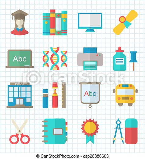 School Colorful Simple Icons - csp28886603