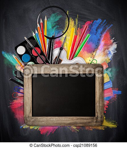 School concept with tools and blackboard - csp21089156