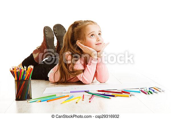 school, denken, inspiratie, concept, inspirerend, tekening, student, dromen, witte , opleiding, kind, meisje, geitje - csp29316932