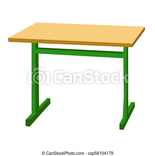 School desk. Color vector flat illustration isolated on white - csp56104179