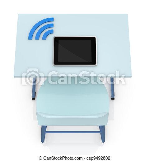 School Desk With Tablet   Csp9492802