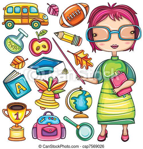 school doodle icons - csp7569026