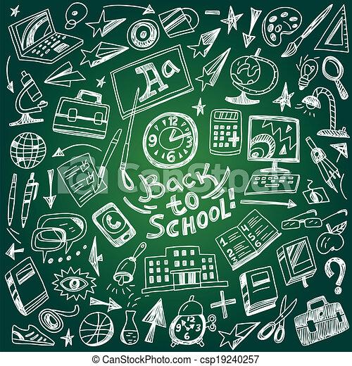 School education - doodles set - csp19240257