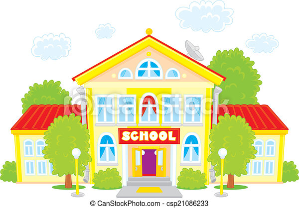 vector clip art illustration of a school building frontal rh canstockphoto com free clipart school building clipart school building black and white