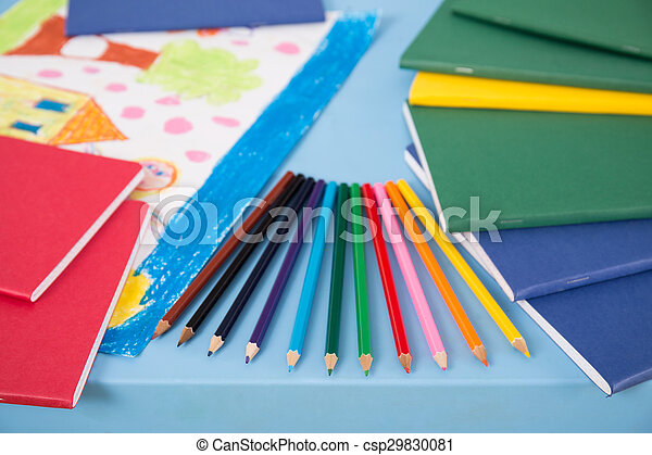 School equipment lying on table - csp29830081