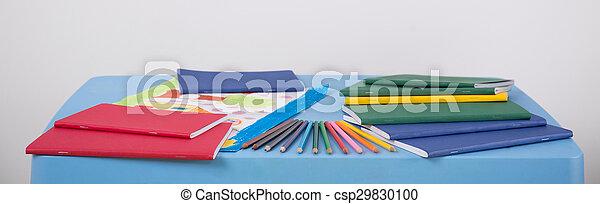 School equipment lying on table - csp29830100