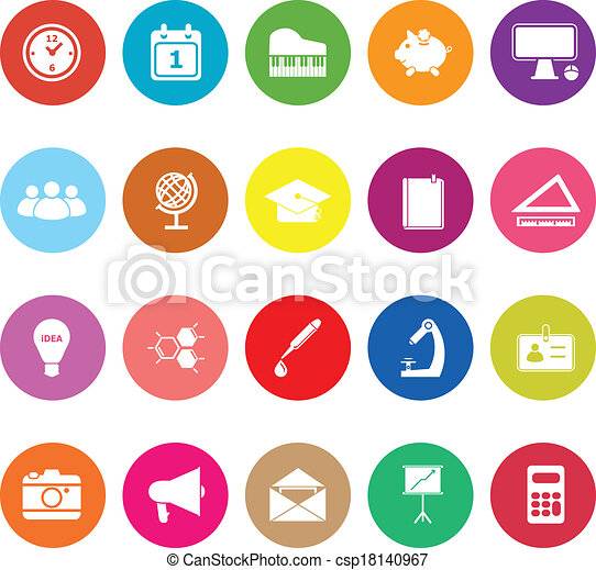 School flat icons on white background - csp18140967