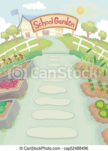School Garden Path Illustration - csp52488496