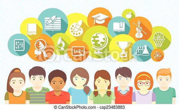 school geitjes, iconen - csp23483883