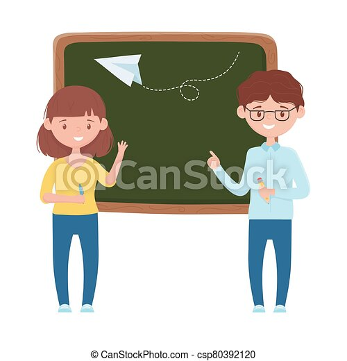 School girl boy board and paperplane vector design - csp80392120