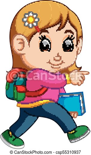 illustration of school girl cartoon walking vectors search clip rh canstockphoto com school boy girl clipart school boy girl clipart