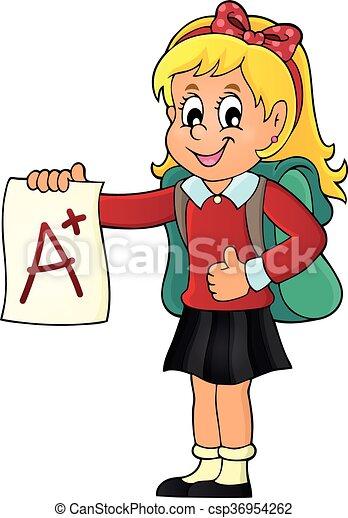 School girl with A plus grade theme 1 - csp36954262