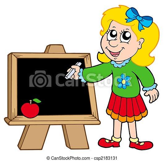 school girl writing on blackboard isolated illustration clipart rh canstockphoto com