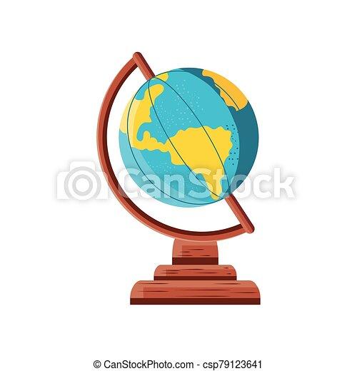 school globe on white background - csp79123641