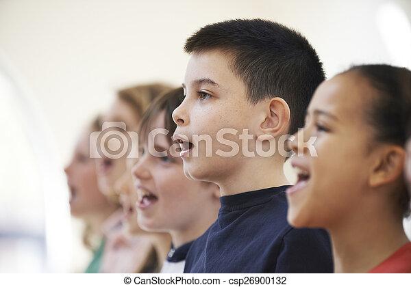 school, groepering aaneen, zanggroep, het zingen, kinderen - csp26900132
